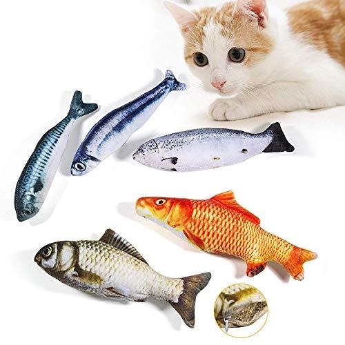 WELLXUNK Spielzeug mit Katzenminze 5 Stück Katze Interaktives Spielzeug Katze Fisch...