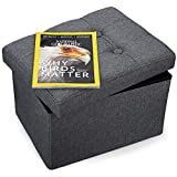 Small Ottoman Foot Rest Stool Short Foot Stools Foldable Ottoman Stool Linen Fabric Folding Storage Ottoman Thicker Foam Especially for Foot Rest