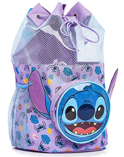 Disney Lilo and Stitch Swimming Backpack Large Drawstring Bags for Kids with Cute 3D Stitch Front Pocket Swim Accessories for Girls Gift Idea for Birthday Back to School Or Holiday Beach Towel