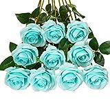 DuHouse 10pcs Fake Roses Artificial Silk Flowers Faux Rose Flower Long Stems Bouquet for Arrangement Wedding Centerpiece Party Home Kitchen Decor(Tiffany Blue)
