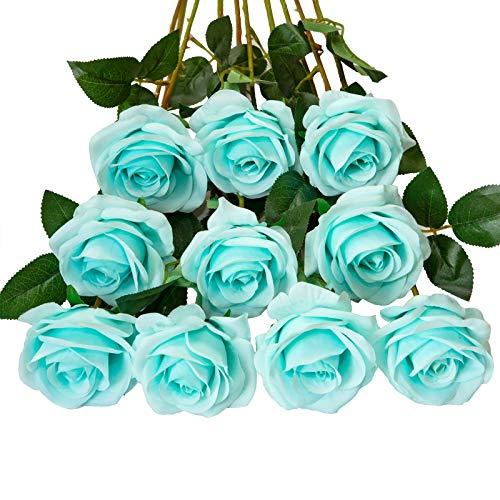 DuHouse 10 künstliche Rosen Seidenblumen gefälschte Rose für Arrangements Hochzeitsfeier Wohnkultur (Tiffany-Blau)