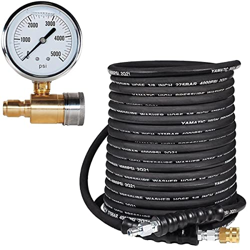 YAMATIC 3/8 INCH X 50 FT Rubber Pressure Washer Hose & 5000 PSI Pressure Washer Gauge Kit