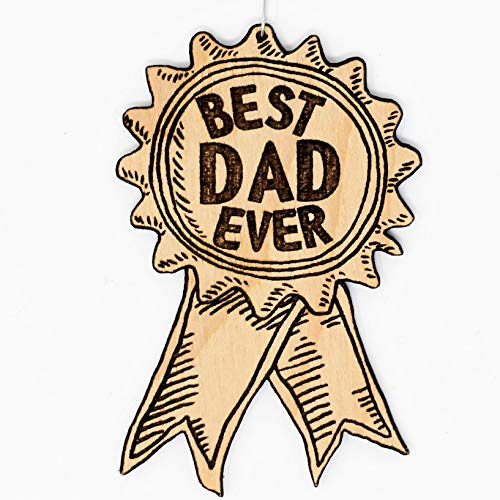 Best Dad Ever Award Ribbon Ornament | Cute Father's Day Gifts for Dad Wood Rear View Mirror Hanging Holiday Decoration