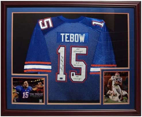 Tim Tebow 4 years warranty Autographed Tucson Mall Florida Gators Deluxe Framed Je #15 Blue
