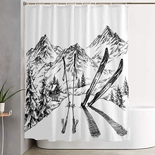 VINISATH Duschvorhang,Feiertage im Ski-Hintergr&-Gebirgspanorama in der Winterskizze,wasserdichter Badvorhang mit 12 Haken Duschvorhangringen 180x180cm