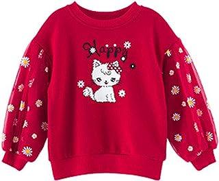 Niñas Sudadera Margarita Manga Larga Jersey Pullover Dibujos Animados Impresos Suéter Hilo Neto Top de Algodón