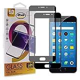 Guran [2 Paquete Protector de Pantalla para Meizu M3 Note/Meizu Note3 Smartphone Cobertura Completa Protección 9H Dureza Alta Definicion Vidrio Templado Película - Negro