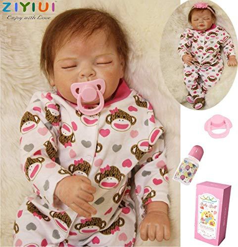 ZIYIUI Sleeping Baby 55 cm 22 Zoll Weiche Silikon Vinyl Handgemachte Realistische Real Life Baby Mädchen Puppen Neugeborenen Mit Dummie Baby Reborn Puppen Mädchen