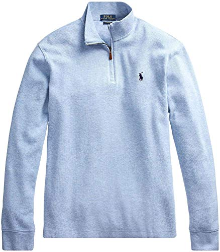 Polo Ralph Lauren Jersey de algodón con media cremallera para hombre con logotipo de pony, con logotipo de pony, de algodón, Azul Brezo, Small