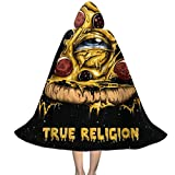 OTTOPT Pizza Zombies Night Sky Faith Eyes Kids Hooded Cape Cloak for Halloween Hooded Cloak Party Costume Robe Cosplay Cape with Hat 35-55inch