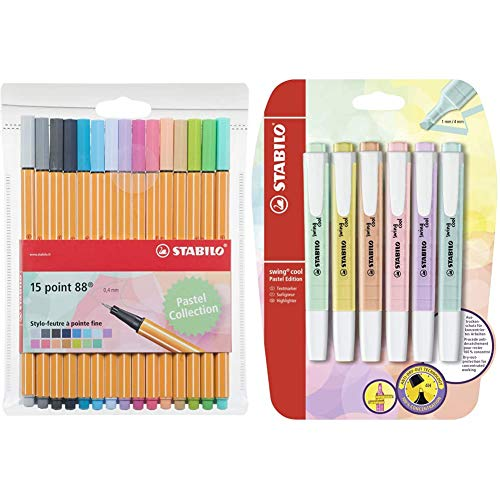 Textmarker - STABILO swing cool Pastel Edition - 6er Pack - 6 Farben & Fineliner - STABILO point 88 - 15er Pack - 15 Pastellfarben