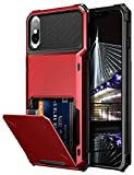 Vofolen Case for iPhone Xs Max Case Wallet ID Slot Credit Card Holder Scratch Resistant Dual Layer Protective Bumper Rugged TPU Rubber Armor Hard Shell Case Cover for iPhone Xs Max 10S Max (Red)