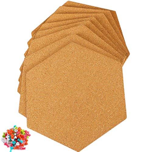 Plroinp 8 Piezas de Baldosas de Corcho Autoadhesivas Hexagonales con 50 Pasadores de Empuje para Tableros de Anuncios de Pared, Imágenes de Oficina y Decoración del Hogar