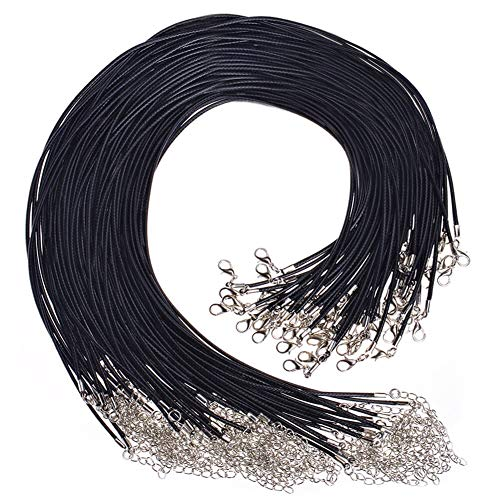 Paxcoo 50Pcs 18' Black Waxed Necklace Cord for Jewelry Making