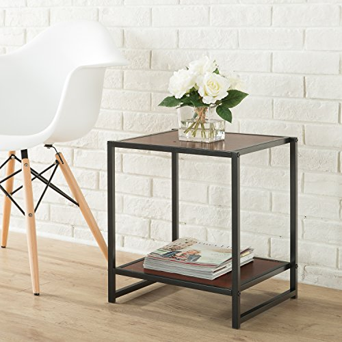 Modern Cube Style Side Table (Steel/Laminate)