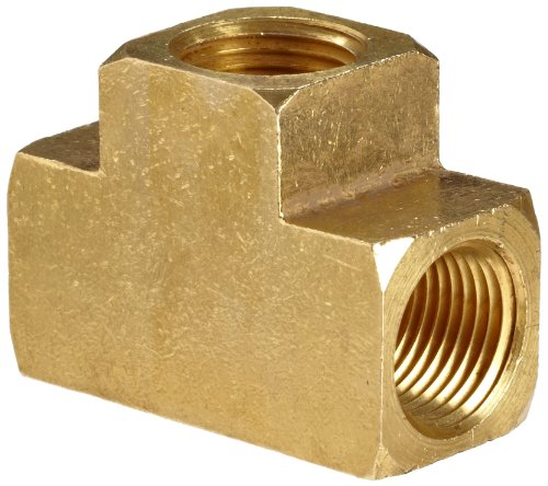 Anderson Metals - 56101-02 Brass Pipe Fitting, Barstock Tee, 1/8 x 1/8 x 1/8 Female Pipe