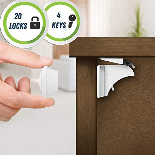 20 serrature, 4 chiavi - Serrature di sicurezza magnetiche per armadietti e cassetti, con strisce adesive extra di 3 metri comprese - A prova di bambino (il kit più grande su Amazon!)