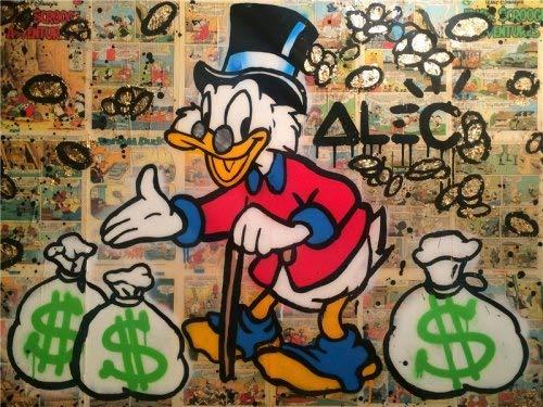 Flduod Alec Monopolyingly Richie Scrooge Dollars Canvas Schilderij Posters Graffiti Prints Wall Street Art Pictures Voor Woonkamer Decor40x60cm