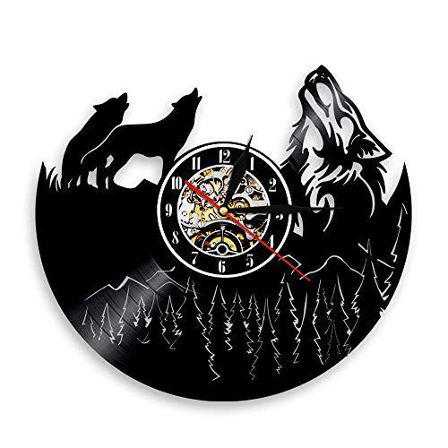 LED 7 Farben Wanduhren Howling Wolf Vinyl Record Watch Forest Wild Animal 3D Time Unique Art Decor Für Schlafzimmer Küche mit Licht
