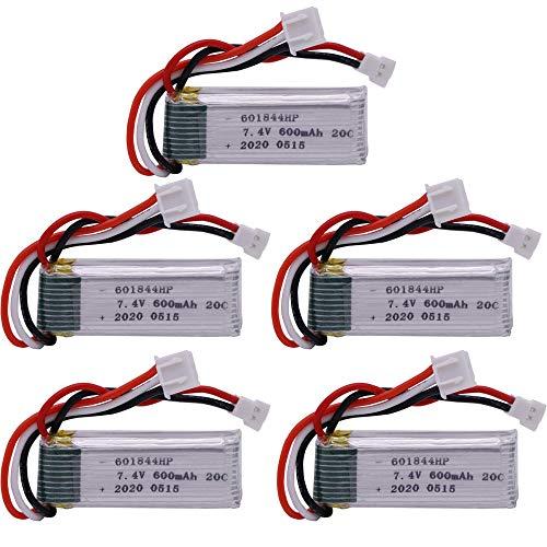 zjpvip218 Batería de Lipo Recargable de 7.4V para WLtoys F959 XK DHC-2 A600 A700 A800 A430 Repuestos para helicópteros RC 2.22Wh Batería de 7.4v 600mah-5 Piezas