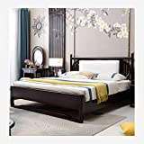 JTJxop Wood Platform Bed with Headboard, Double Bed Wooden Frame, Solid Wood Mattress Foundation, No Box Spring Needed, Wood Slat Support for Children and Adults 180x200cm