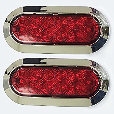 """Set of 2 Surface Mount 6"""" Oval 10 LED Trailer Truck Stop/Turn/Tail Light w/ Chrome Trim"""