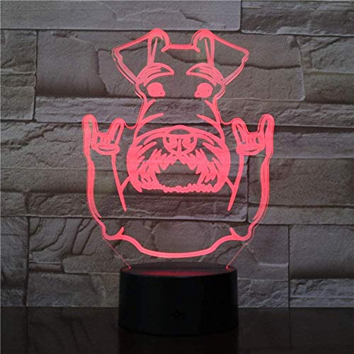 Ling Cute Dog Lava 3D Optical Illusion Lamps Kids Girls Boys Suitable For Boys And Girls Bedroom Bar Living Room Birthday Christmas Gifts Usb Charging Touch Mode 7 Color Variations