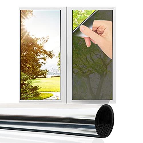 Jsvacva - Película de privacidad para ventana, diseño de espejo de una sola vía, color plateado y reflectante para ventana, bloqueo de sol, control de calor anti UV(60 x 400 cm)