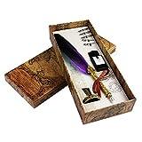 Juego de pluma estilográfica, tinta y soporte, con pluma natural hecha a mano, diseño de pluma antigua, color morado