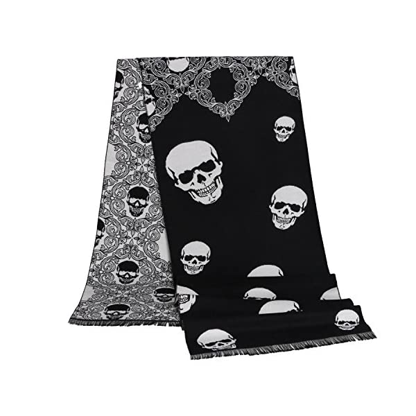 Landisun Skull Scarf Shawl Soft Long Elegant Classical Tassels (Black White)