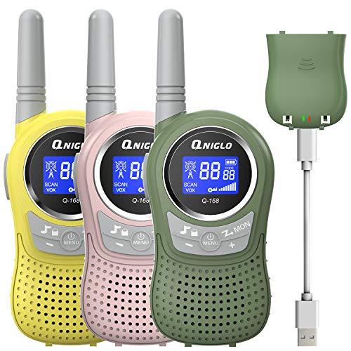 QNIGLO Q168Plus+Macaron Walkie Talkie Niños 3 Paquetes Recargable USB,PMR446 Comunicación Bidireccional 8 Canales,Buen Ayudante para Aventura al Aire Libre,Regalo de moda para Niños(RosaVerdeAmarillo)
