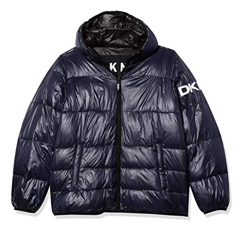 DKNY Water Resistant Ultra Loft Hooded Logo Puffer Jacket Abrigo de alternativa sintética de plumas, azul marino, XL largo para Hombre
