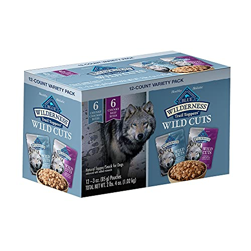 Blue Buffalo Wilderness Trail Toppers Wild Cuts High Protein, Natural Wet Dog Food Variety Pack, Chicken and Beef Bites, 3-oz pouch, 12 count