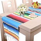 Amajoy Manta de Mesa de Rayas mexicanas de 35 x 275 cm, Multicolor, con Flecos de algodón, para graduación, Fiesta, Boda, Fiesta, decoración del hogar