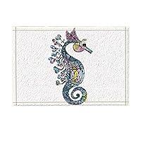 Assanu 航海海洋動物水彩海馬パターン装飾ルーム装飾ホームディスプレイ出入口歓迎浴室浴室リビングルーム絶妙な滑り止めカーペット