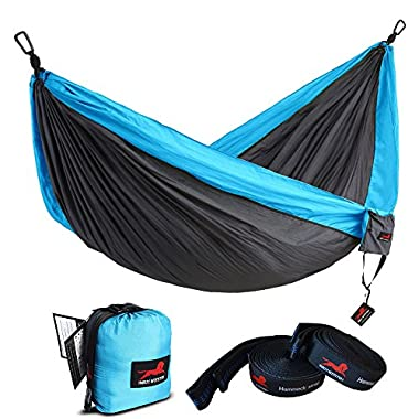HONEST OUTFITTERS Single Camping Hammock with Basic Hammock Tree Straps,Portable Parachute Nylon Hammock for Backpacking Travel Grey/Blue 55  W x 108  L