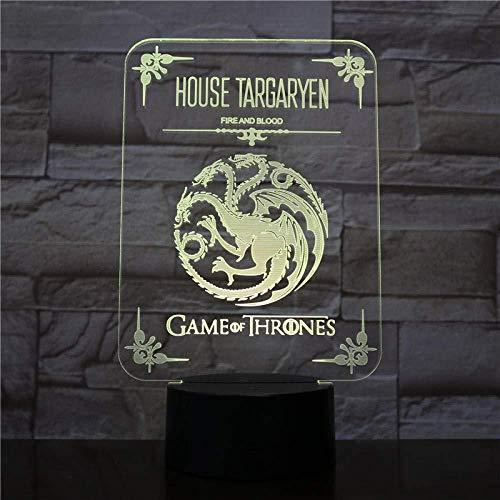 House Targaryen Logo LED Night Light Sensor táctil Cambios 7 colores de la sangre y el fuego de los niños Throne Game Lámpara de mesa Dropship