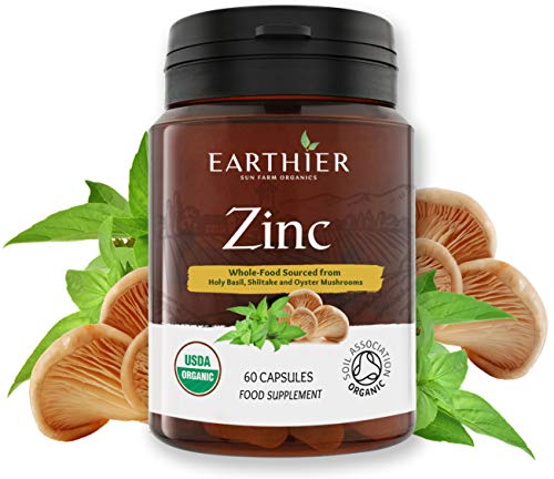 Organic Zinc Whole Food Supplement Certified by Soil Association - 1 Month Supply - Vegan