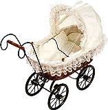 Cochecitos de bebé nostálgicos, de estilo clásico, de madera sólida y el tejido de mimbre muñeca cochecito,White