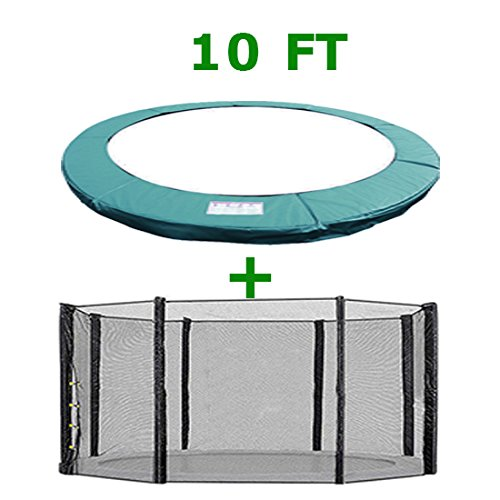 Greenbay Trampoline Replacement Safety Spring Cover Padding Pad + Safety Net Enclosure Surround 10FT Green for 8 poles Trampoline