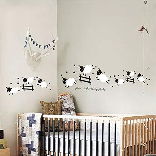 wandaufkleber 3d Cartoon niedlichen springenden Schaf Zaun Kunst Aufkleber für Baby Kinder Mädchen Wohnzimmer Schlafzimmer Kinder Schlafzimmer Babyzimmer