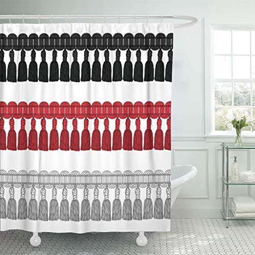 GABRI Duschvorhang Anti-Schimmel Waschbar Polyester mit 12 Duschvorhangringen Fringe Neuheit Gimp Quaste Trim Border Braid Brush Brush Bullion (122X180cm)
