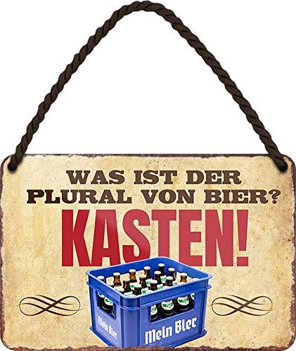 Tin Sign Hängeschild Blechschild 18x12 cm was ist die Mehrzahl von Bier ? Kasten lustiger Spruch Wand + Tür Deko Haus + Garten Bar Kneipe mit Kordel + Saugnapf H008 …