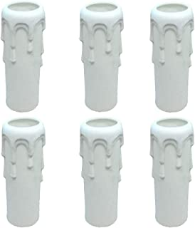 Candle Light Socket Covers - Set of 6,Multi-color Plastic Candle Sleeves Multiple sizes Candelabra Base for Light(White,H10cm,Dia3cm)