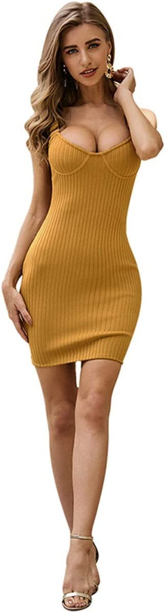 Ladies Evening Dress Temperament Slim Skirt Pack Hip Skirt Bandage Dress Adjustable Sling Dress Women's Club & Night Out Dresses (Color : Yellow, Size : Small)