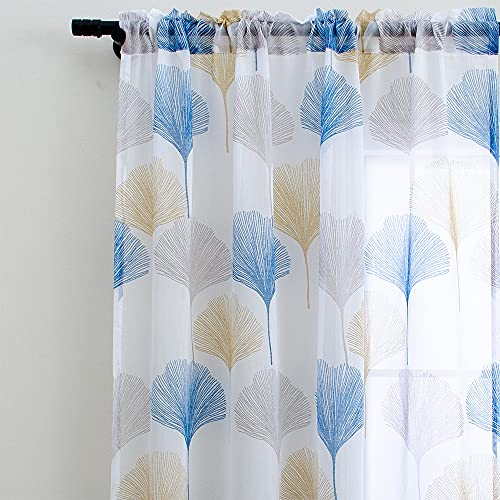 Linentalks White and Blue Sheer Floral Curtains 84 inches Long, Scandinavian Design Leaf Patterned Printed Sheer Curtains for Living Room, Bedroom Rod Pocket Window Curtain Drapes Set of 2 Panels