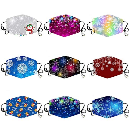 Uhoney 9PC Christmas Face Bandanas Reusable Washable for Women Men, Breathable Cotton Face Bandanas, Colorful Funny Decorated, Comfortable Windproof Face Protection for Outdoor Riding