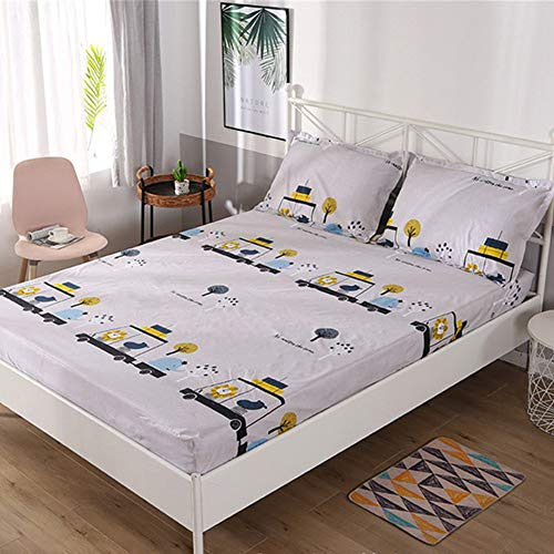 CNNINHAO 3 Piece Printed Bed Sheet Set, Easy Care Soft Microfibre All Around Elastics Breathable 12' Deep Pocket with 2 Pillowcases and 1 Fitted Sheet Single Double King (Small animals,90x200+30)