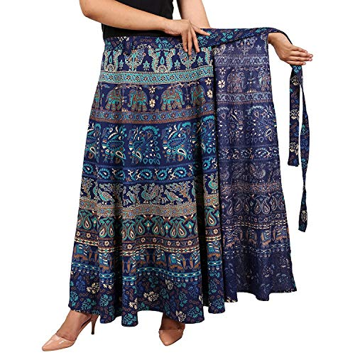 EIRSON Cotton Women's Long Wrap Around Skirt Jaipuri Printed (Free Size Upto 44-XXL)