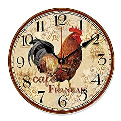 Telisha Retro Design Large Clock Rooster Chicken Cafe Home Decorative Wall Clock Wood 34CM 14 Non-Ticking Silent Quiet